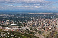 Aerial view of downtown Calgary sports centres