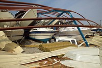 Collapsed boat storage facility from Hurricane Ivan storm in Pensacola Florida