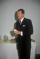 President Ronald Reagan taking a coffee break