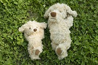 Two soft toy dogs lying on grass