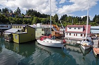 Dock and houseboats in Cowichan Bay on Vancouver Island.