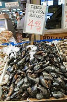 Fresh Live Local Mussels at Pike Place Market.
