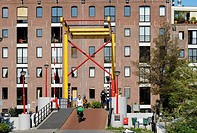 A colourful bridge (Nijlpaardenbrug, or hippopotamus bridge) in Amsterdam's Plantage district, the Netherlands