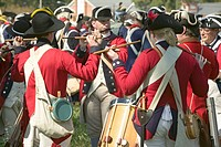 Fife and drum musicians perform at the Endview Plantation circa 1769, near Yorktown Virginia, as part of the 225th anniversary of the Victory of Yorkt...