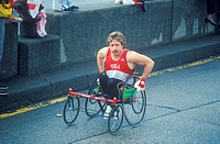Close_up of handicapped runner in NY City Marathon, NY