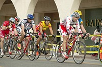Amateur Men Bicyclists competing in the Garrett Lemire Memorial Grand Prix National Racing Circuit NRC on April 10, 2005 in Ojai, CA