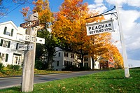 Directional signs in Peacham, VT in Autumn