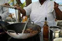 Tasty stir fry in beach restuarant in Caribbean.