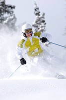 Woman skiing, Snowbird, Utah.