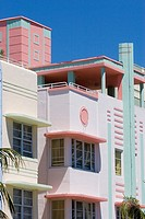 Pastel colored hotels in the art deco architecture style on Ocean Drive, in the Art Deco District of South Beach, Miami, Florida