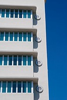 Detail of Victor Hotel, an example of the art deco architecture style on Ocean Drive, in the Art Deco District of South Beach, Miami, Florida