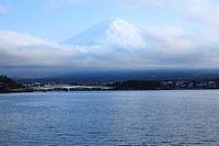 View of Mt. Fuji with lake Kawaguchi