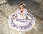 teen girl wearing a traditional Panamanian Pollera