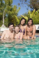 Young friends in swimming pool on vacation