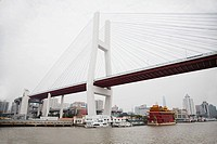 China, shanghai, nanpu bridge and huangpu river