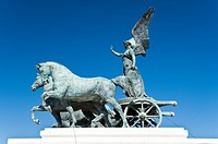 View of the statue of the goddess Victoria riding on quadriga, National Monument of Victor Emmanuel II, Rome, Italy