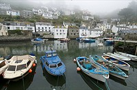 Foggy view in Polperro, a small fishing village.