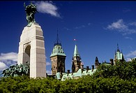 The war memorial with the Parliament building in the background