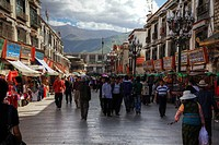 Jokhang pilgrims, tourists and locals mix in Barkhor Square.