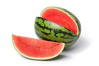 Whole and partial water melon on white background