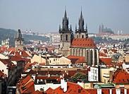 View from the Powder Tower at Tyn Church and Castle in Prague