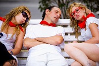 People sleeping on the streets after hours and hours of the San Fermin festival in Pamplona Navarra, Spain