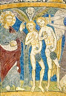 Denmark, Bornholm Island, Nylars round church, Adam and Eve expelled from the garden of Eden 13th C paintings