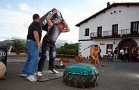 Iñaki and Ignacio Perurena, Harrijasotzaile (stone lifting), Basque rural sport, Aduna, Gipuzkoa, Basque Country, Spain