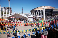 Harbor festival at Cardiff bay, south Wales with the Millenium centre in the background