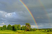 A rainbow after a strom. Podlasie region. Eastern Poland
