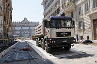 Road construction site in Rome