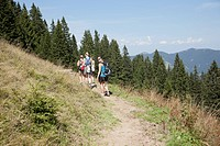 A group hike through the mountains