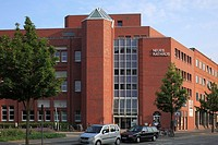 Germany, Kiel, Kiel Fjord, Baltic Sea, Schleswig-Holstein, New City Hall with city library, brick building