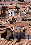 Peru. Cusco city. Overview of historical center. Church La Compañia and La Merced.