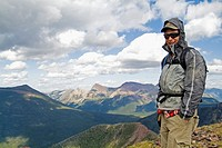 hiker in Waterton National Park, Alberta, Canada