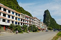 Building facades along the road leading to downtown Yangshuo, Guangxi, China.