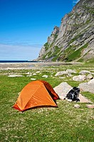 Scenic campsite at Bunes beach, Moskenesoy, Lofoten islands, Norway
