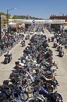Elevated view of Main Street with motorcycles lining road at the 67th Annual Sturgis Motorcycle Rally, Sturgis, South Dakota, August 6_12, 2007