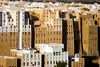 Panoramic view of the mud brick's tower houses, Shibam, Yemen