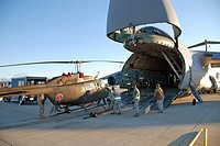 New York Army National Guard Soldier unload an OH-58 Kiowa Sept 17, 2010, at Cape Town International Airport, South Africa, from a C-5 Galaxy  U S  Ar...