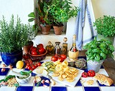 Italian still life with pasta and herbs