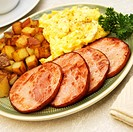 Breakfast Plate, Fried Canadian Bacon, Eggs and Home Fries