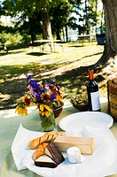 Picnic Set Up Outdoors at Picnic Area by a Lake, Wine, Cheese, Bread and Flowers