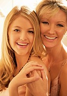Close up portrait of two women