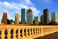 Houston Downtown Skyline and Sabine Street Bridge - Houston, Texas