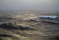 Pale sunlight breaking through sea fog makes stormy ocean surface look like burnished bronze. View over rough sea near Antarctica. Overcast with leade...