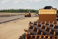 st. albert, alberta, canada, road construction in a commercial site