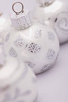 a white and silver christmas ball, edmonton, alberta, canada