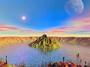 Alien lake. Conceptual computer artwork of plants growing around an impact crater filled with liquid water on an earth_like alien planet.