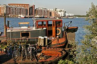 VIEW OF THE OOSTELIJK HAVENGEBIED QUAYS ON KNSM EILAND, AMSTERDAM, NETHERLANDS